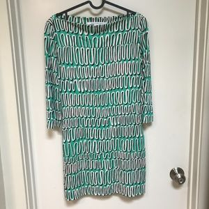 Diane von Furstenberg Green Retro Dress Size 6